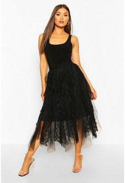 Black Lace Tulle Mix Midi Skirt