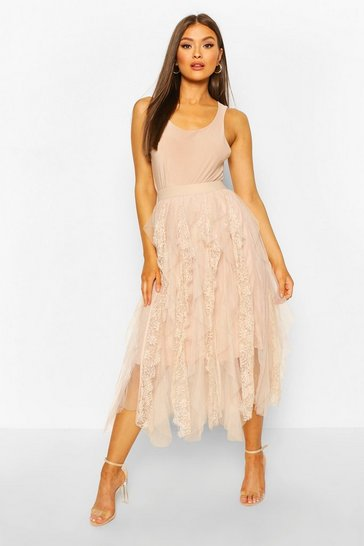 Nude Lace Tulle Mix Midi Skirt