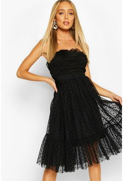 Black Polka Dot Flocked Tulle Midi Skirt