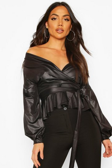 Black Bell Sleeve PU Off The Shoulder Wrap Top