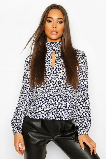 Black High Neck Floral Woven Open Back Peplum