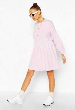 Lilac Ruched Sleeve Oversized Sweatshirt Dress