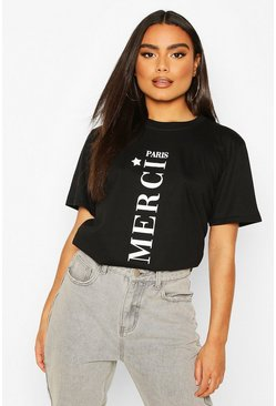 Black Paris Slogan T-Shirt