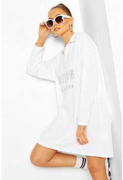 White Embroidered Collar Polo T-shirt Dress