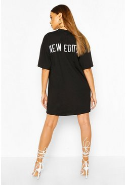 Black Embroidered Back Slogan Oversized T-shirt Dress
