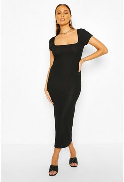 Black Rib Cap Sleeve Scoop Neck Midaxi Dress