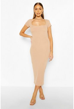 Camel Rib Cap Sleeve Scoop Neck Midaxi Dress