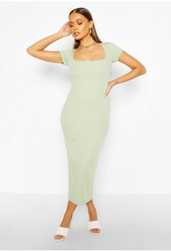 Sage Rib Cap Sleeve Scoop Neck Midaxi Dress