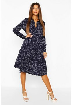 Navy Polka Dot Tiered Midi Shirt Dress