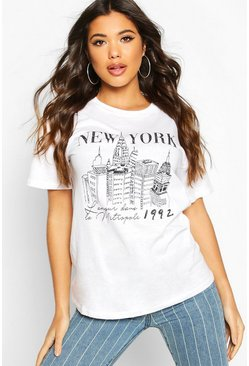 T-shirt graphique New York, Blanc