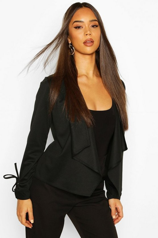 Black Waterfall Crop Blazer