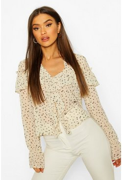 Ivory Ditsy Floral Print Ruffle Blouse