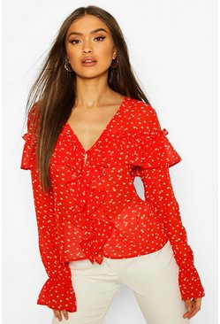 Red Ditsy Floral Print Ruffle Blouse