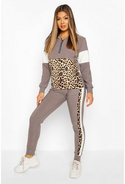 Grey Animal Print Jogger Set With Half Zip Hooded Top