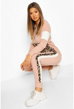 Ensemble jogging imprimé animal avec top à capuche à demi-zip, Pink