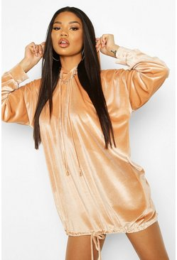 Stone Velour Sweat Hooded Dress