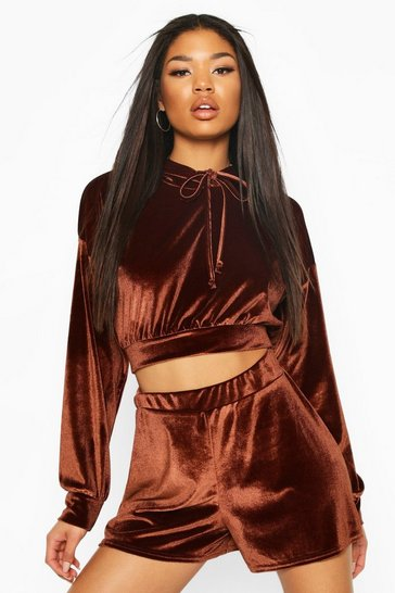 Chocolate Velour Slouchy Shorts