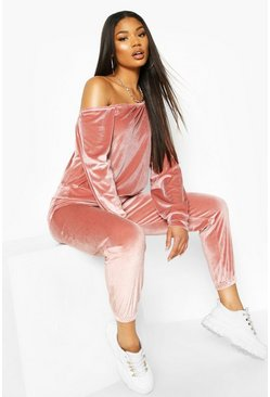 Top sweat oversize en velours, Rose fleur