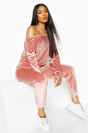 Rose Velour Oversized Sweat Top