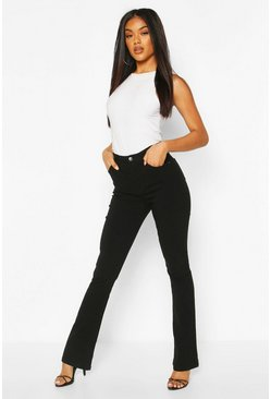 Black High Rise Stretch Flare