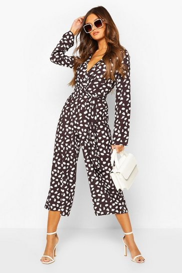 Black Woven Smudge Spot Print Belted Jumpsuit