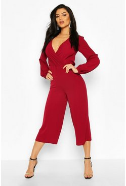 Berry Wrap Front Blouson Sleeve Wide Leg Jumpsuit