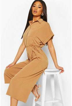 Camel Woven Button Up Tie Waist Utility Jumpsuit