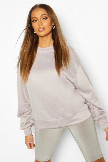 Grey Balloon Sleeve Oversized Sweat Top