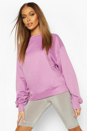 Purple Balloon Sleeve Oversized Sweat Top