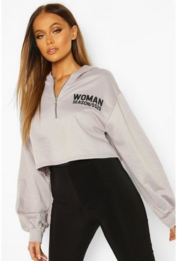Grey Woman Zip Up Oversized Crop Hoodie
