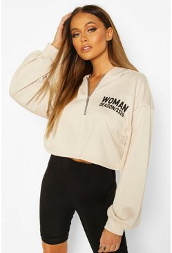 Stone Woman Zip Up Oversized Crop Hoodie