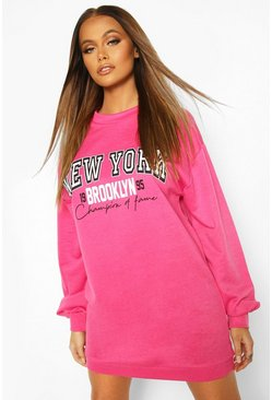 Pink Balloon Sleeve New York Sweat Dress