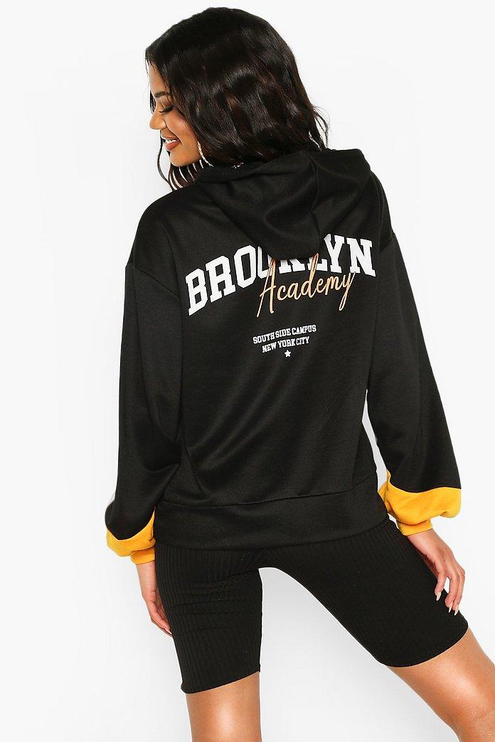 Sweat à capuche oversize à rayures contrastées Brooklyn | boohoo