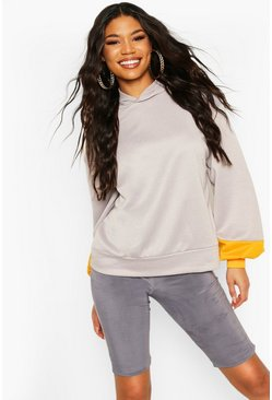 Grey Brooklyn Contrast Stripe Oversized Sweat Hoodie