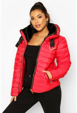 Red Quilted Puffer Jacket