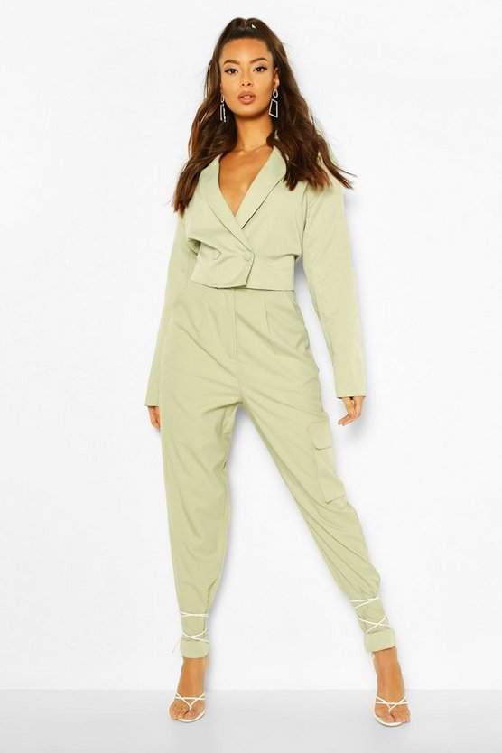 Sage Paperbag Waist Carrot Leg Pocket Trouser