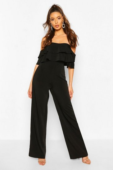Black Off The Shoulder Tailored Jumpsuit