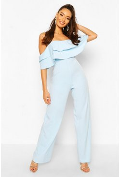 Blue Jumpsuit i off shoulder-modell