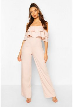 Pink Off The Shoulder Tailored Jumpsuit