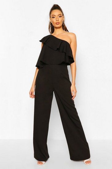 Black One Shoulder Occasion Jumpsuit