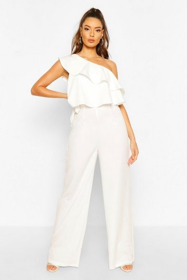 Ivory One Shoulder Occasion Jumpsuit