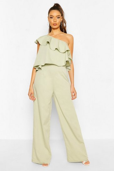 Sage One Shoulder Occasion Jumpsuit