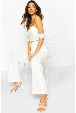 White Broiderie Belted Wide Leg Pants