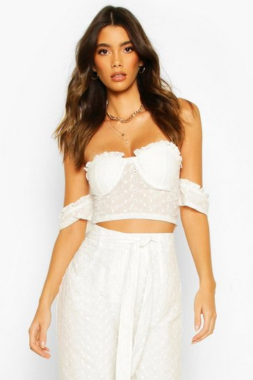White Broderie Cup Detail Off Shoulder Top