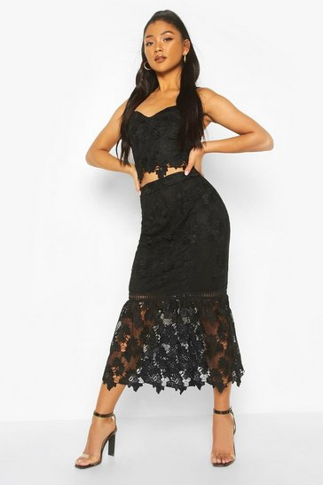 Black Crochet Lace Peplum Skirt