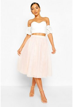 Blush Woven Bardot Lace Top And Tulle Midi Skirt Co-ord