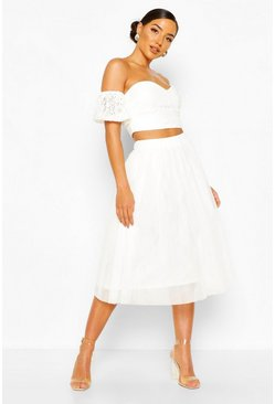 White Bardot Lace Top And Tulle Midi Skirt Co-ord Set