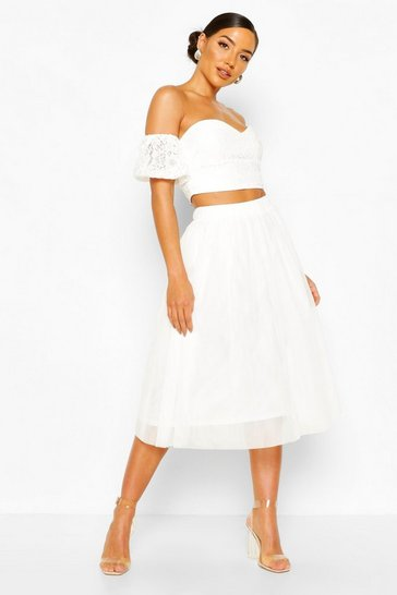 White Woven Bardot Lace Top And Tulle Midi Skirt Co-ord