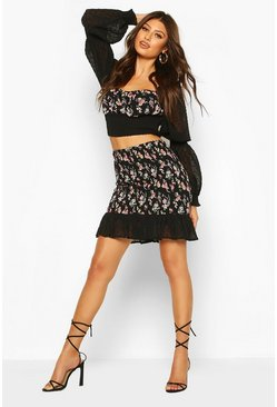 Black Floral Shirred Dobby Mesh Ruffle Hem Mini Skirt