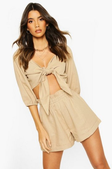 Stone Linen Off Shoulder Tie Front Top